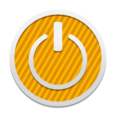 shut down, power. Gray icon in circle with orange striped background. Industrial style Illustration