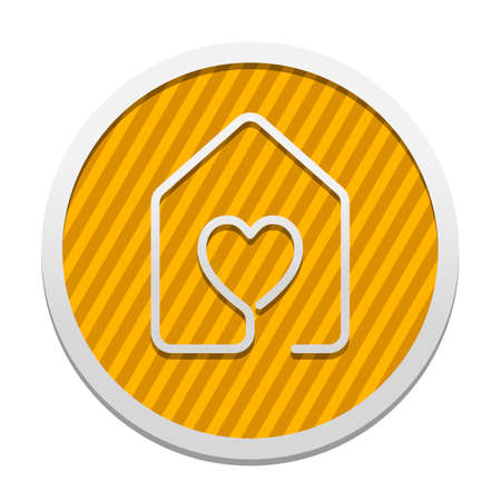 house with heart icon. line style. Gray icon in circle with orange striped background. Industrial style Ilustração