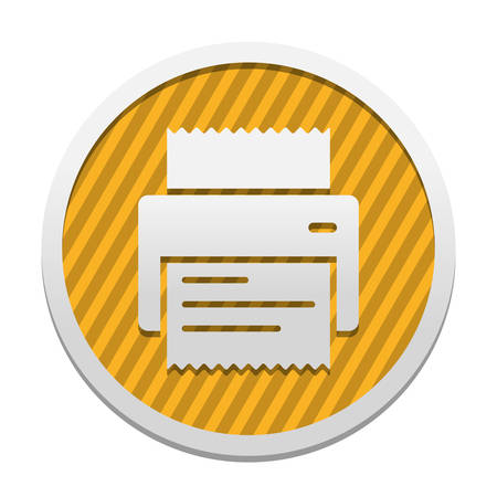printer, receipt, simple icon. Gray icon in circle with orange striped background. Industrial style Ilustração