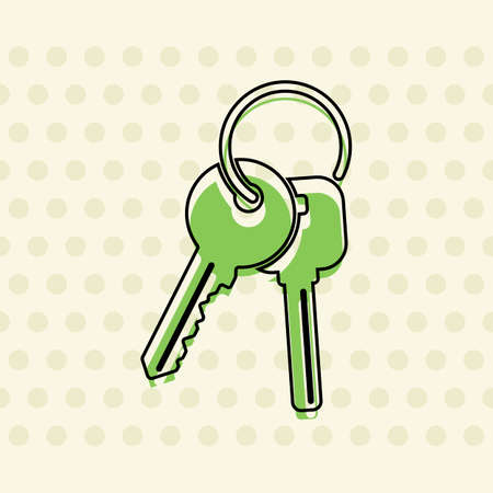 Keys on the ring icon. Black contour of icon and green filling on beige seamless background with circle Иллюстрация