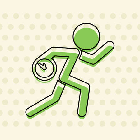 Running man with clock. Simple icon. To be late. An unpleasant situation. Black contour of icon and green filling on beige seamless background with circle