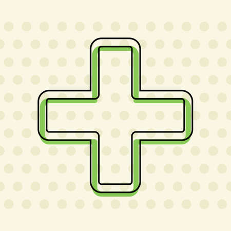 Medical cross icon. Black contour of icon and green filling on beige seamless background with circle.