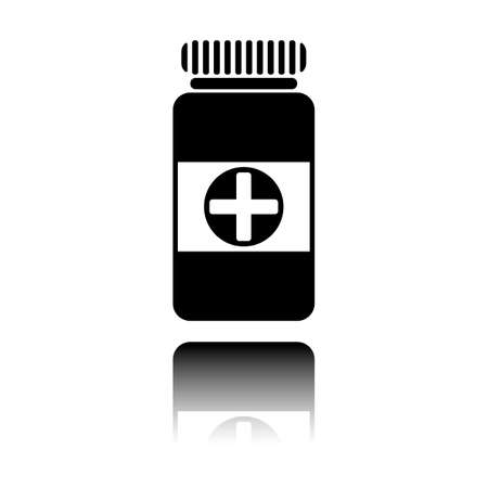 Bank of pills icon. Black icon with mirror reflection on white background