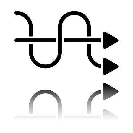 crossed arrows. simple silhouette. Black icon with mirror reflection on white background Illustration