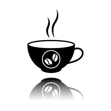 cup of hot coffee icon. Black icon with mirror reflection on white background Illustration