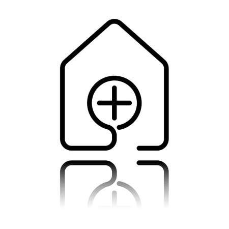 House with medical cross icon line style. Black icon with mirror reflection on white background.