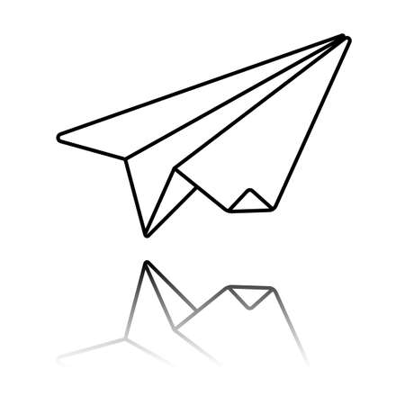 paper plane. origami glider. Black icon with mirror reflection on white background Vettoriali