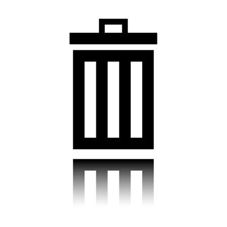 trash bin. simple icon. Black icon with mirror reflection on white background