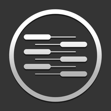 Double piano keyboard icon. Duet. Competition, Vertical view. icon in circle on dark background with simple shadow