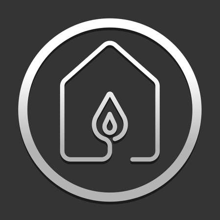 house with fire flames icon. line style. icon in circle on dark background with simple shadow