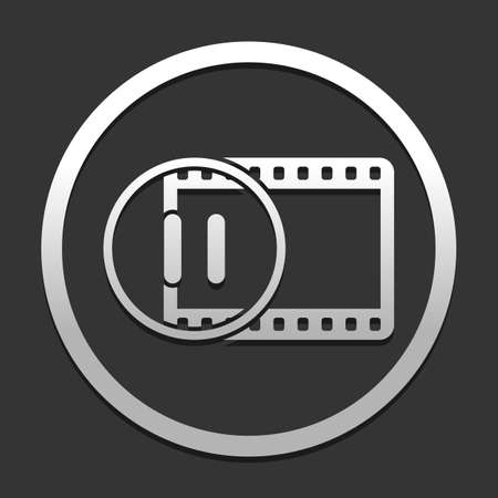 movie strip with pause symbol in circle. simple silhouette. icon in circle on dark background with simple shadow