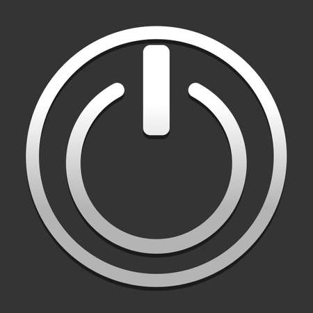 shut down, power. icon in circle on dark background with simple shadow