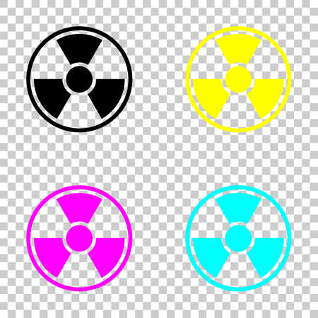 Hazard, radiation simple silhouette. Colored set of cmyk icons on transparent background