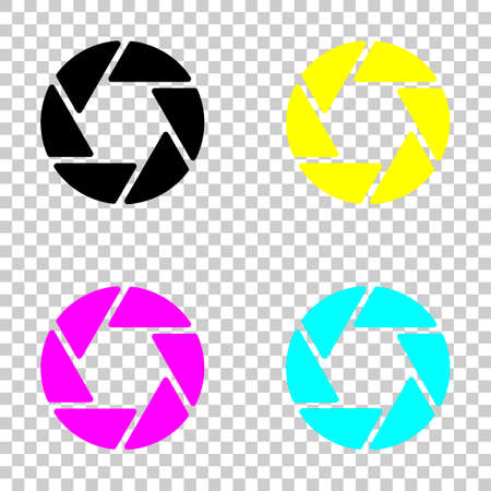 Camera objective simple silhouette. Colored set of cmyk icons on transparent background