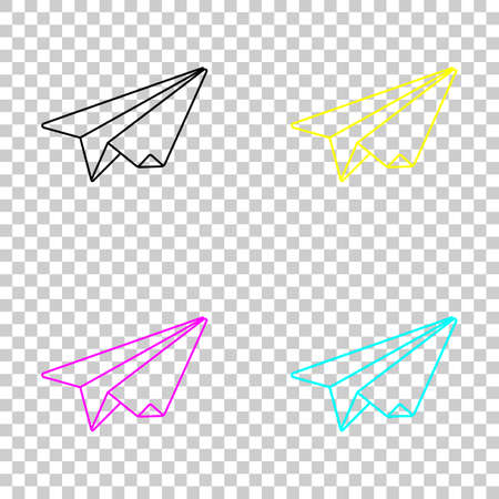 Paper plane origami glider. Colored set of cmyk icons on transparent background. Vettoriali