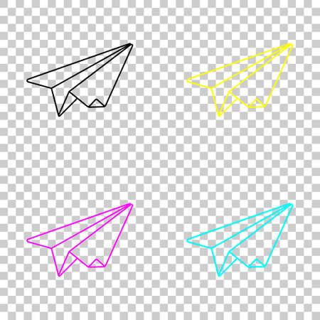Paper plane origami glider. Colored set of cmyk icons on transparent background. Illustration