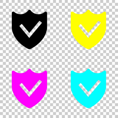 Protection success simple icon in Colored set of cmyk icons on transparent background.