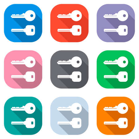 Keys icons set. Set of white icons on colored squares. Seamless and pattern for poster