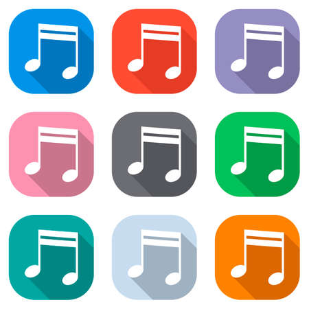 Music note icon. Set of white icons on colored squares. Seamless and pattern for poster