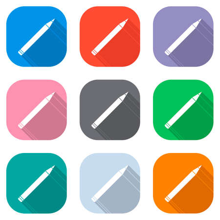 Pencil icon. Set of white icons on colored squares. Seamless and pattern for poster