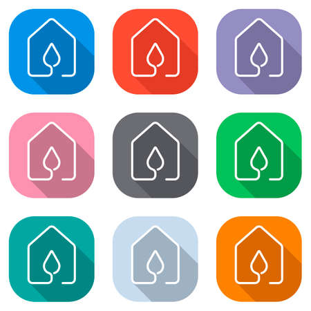 house with water drop icon. line style. Set of white icons on colored squares for applications. Seamless and pattern for poster
