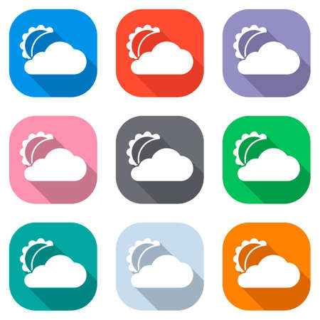 moon and cloud. simple silhouette. Set of white icons on colored squares for applications. Seamless and pattern for poster