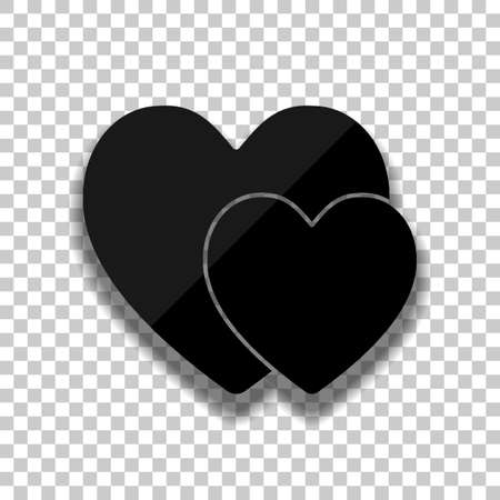 2 hearts. Simple icon. Black glass icon with soft shadow on transparent background