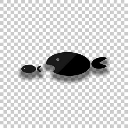 fish eating fist. Black glass icon with soft shadow on transparent background Vectores