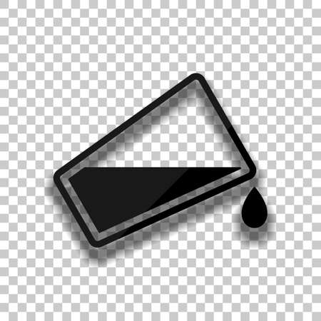 glass and flowing water icon. Black glass icon with soft shadow on transparent background