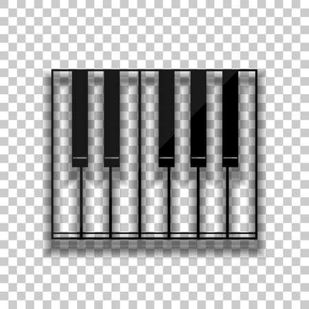 Icono de piano simple. Icono de cristal negro con suave sombra sobre fondo transparente