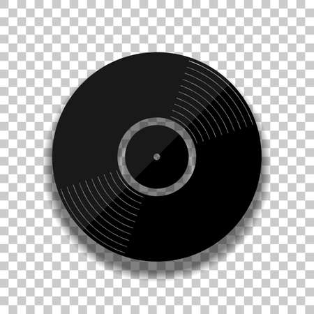 vinyl icon. Black glass icon with soft shadow on transparent background Illustration