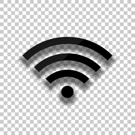 wifi icon. Black glass icon with soft shadow on transparent background