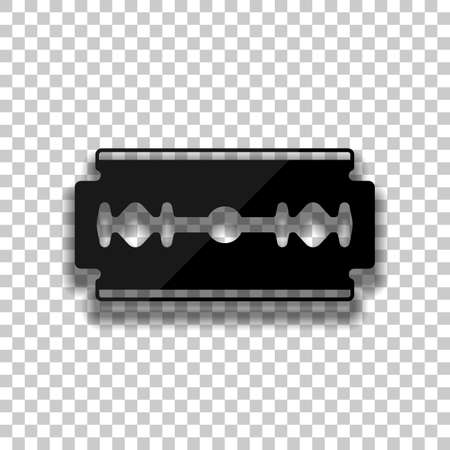 blade. simple silhouette. Black glass icon with soft shadow on transparent background