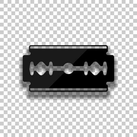 lame. silhouette simple. Icône de verre noir avec une ombre douce sur fond transparent