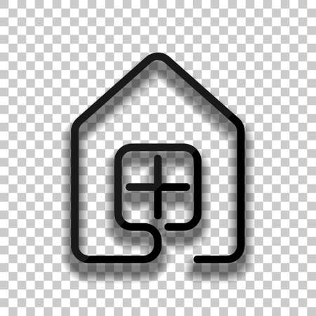 house with window icon. line style. Black glass icon with soft shadow on transparent background
