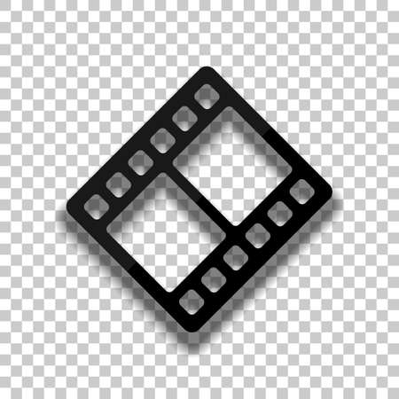 movie strip. simple silhouette. Black glass icon with soft shadow on transparent background Illustration