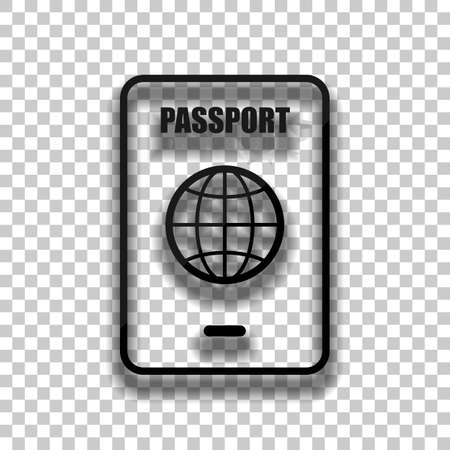 passport, simple icon. Black glass icon with soft shadow on transparent background