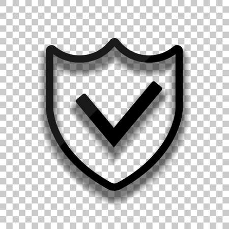 protection success. simple icon. Black glass icon with soft shadow on transparent background Ilustração