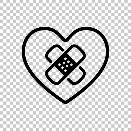 broken heart with patch. simple single icon. On transparent background. Illustration