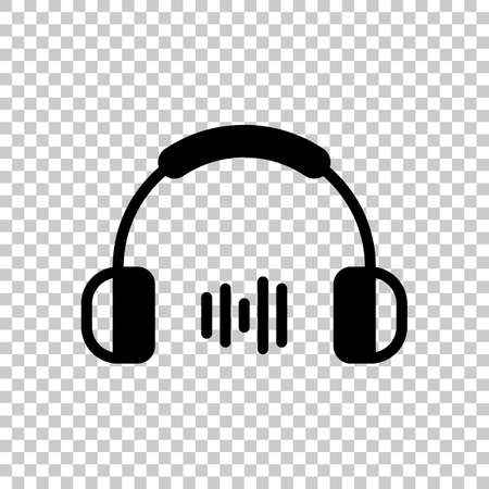 Headphones and music wave. Medium volume level. Simple icon. On transparent background. Illustration
