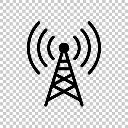 Radio tower icon. Linear style. On transparent background. 向量圖像