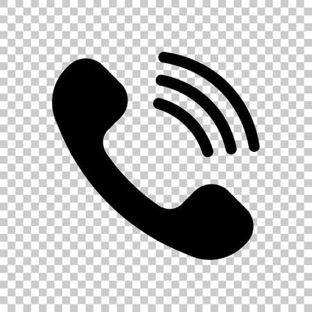 Ringing phone icon. Retro symbol. On transparent background.