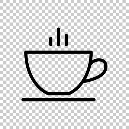 Simple cap of coffee or tea. Linear icon with thin outline. On transparent background.