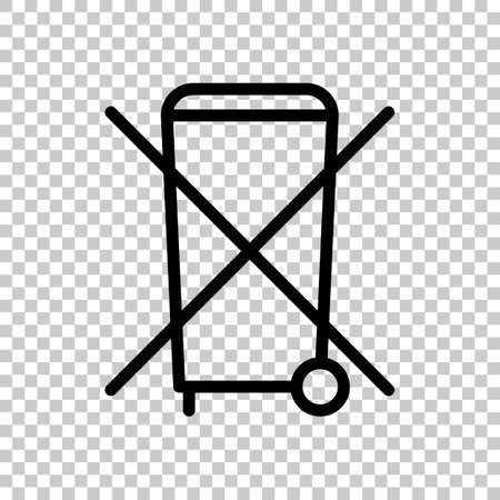 No trash bin, crossed litter. Linear icon with thin outline. On transparent background.