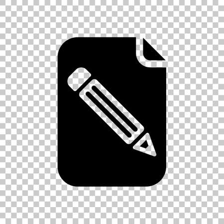 Paper and pencil icon. On transparent background.