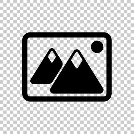 Picture with couple of mountains and sun. Simple icon. On transparent background.