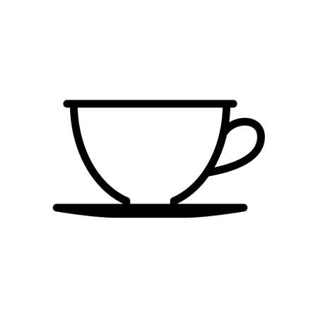 Simple cup of coffee or tea. Linear icon, thin outline