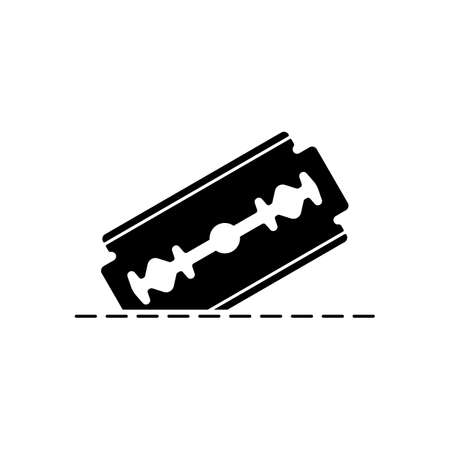razor blade and cutting line. simple icon