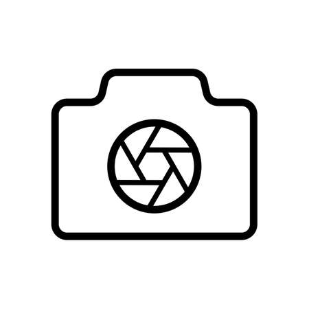 Photo camera with shutter, linear symbol with thin outline, simple icon