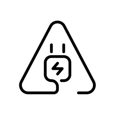 Electric power plug in warning triangle. Simple linear icon with thin outline. One line style